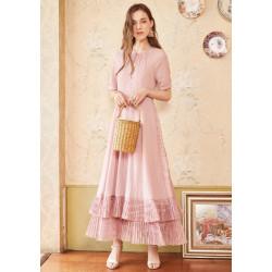 Кружевное платье с вышивкой макси LA12587X