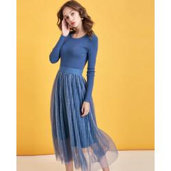 Элегантное трикотажное платье с длинным рукавом LB10290Q
